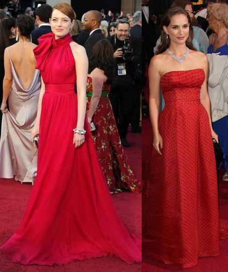 Alfombra roja de los Oscar 2012 Emma Stone y Natalie Portman