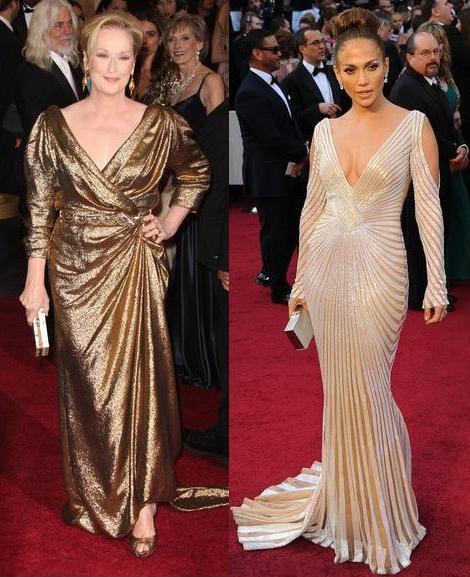 Alfombra roja de los Oscar 2012 Meryl Streep y Jennifer Lopez