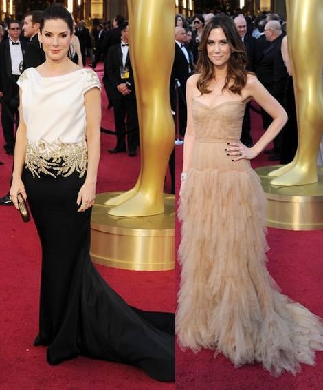 Alfombra roja de los Oscar 2012 Sandra Bullock y Kristen Wiig