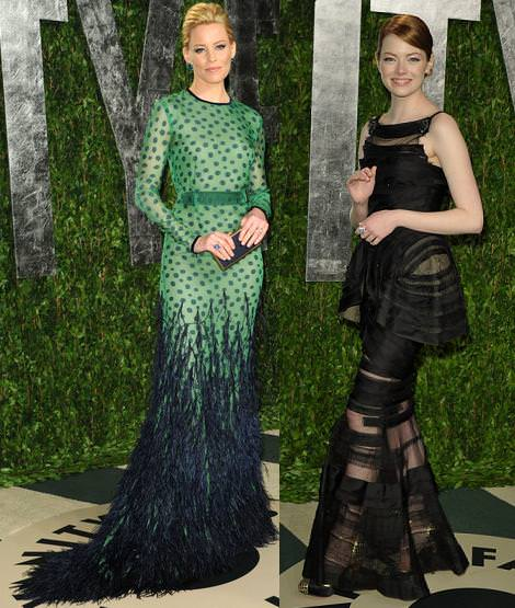 Los Oscar Fiesta Vanity Fair 2012 Elizabeth Banks y Emma Stone