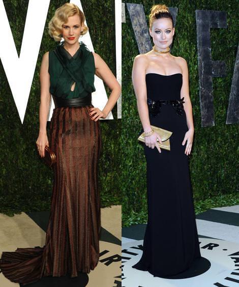 Los Oscar Fiesta Vanity Fair 2012 January Jones y Olivia Wilde