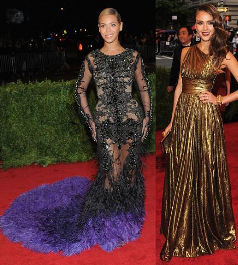 Alfombra roja MET 2012: Jessica Alba y Beyonce