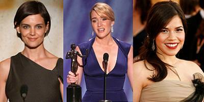 alfombra roja de los premios SAG 2009. katie holmes, Kate Winslet y America Ferrera