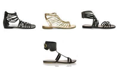 sandalias planas de gladiador de Blanco