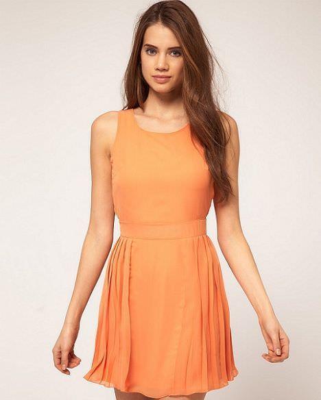 vestido naranja de asos