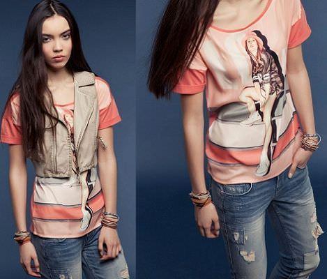 camiseta rosa de Bershka