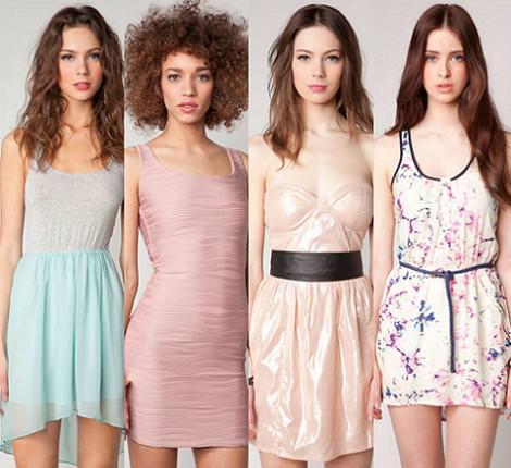 Vestidos de fiesta de Bershka primavera verano 2012 colores pastel