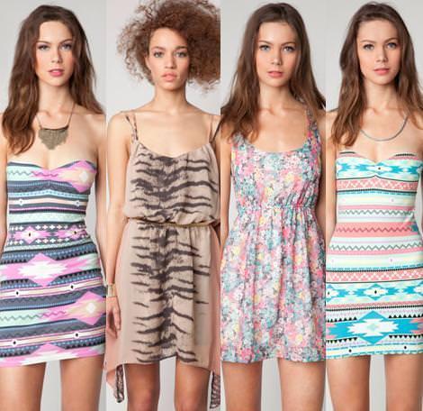 Vestidos de fiesta de Bershka primavera verano 2012 estampados