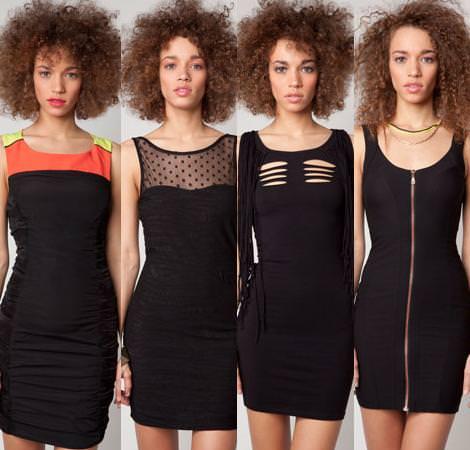Vestidos de fiesta de Bershka primavera verano 2012 negros