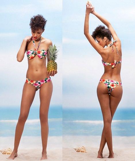 bikini con estampado tropical de bershka