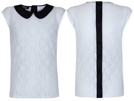Nueva camisa con cuello bebé de Blanco