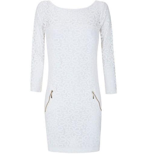 blanco primavera vestido blonda