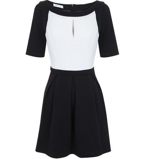 vestido bicolor de blanco para la primavera