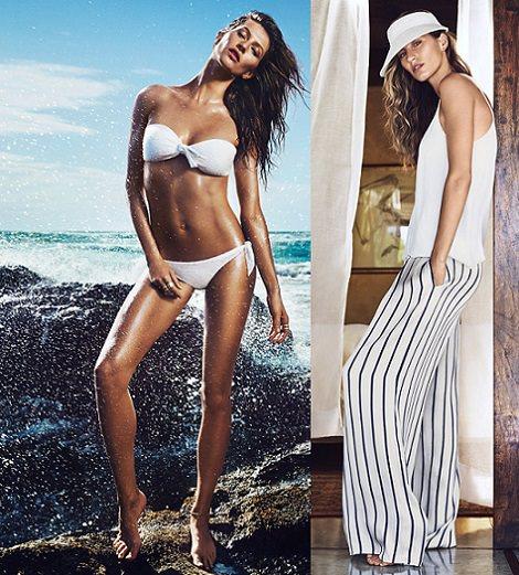 ropa de playa blanca de H&M con Gisele Bundchen verano 2014