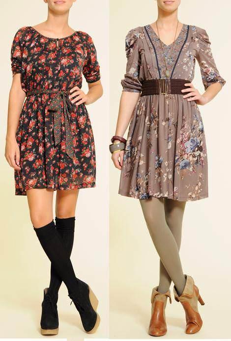 Vestidos con estampados florales (moda otoño invierno 2010 2011)