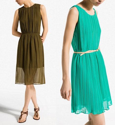 vestidos de Massimo Dutti cortos plisados verano 2014