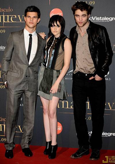 Kristen Stewart, Robert Pattinson y Taylor Lautner en la presentación de New Moon en Madrid