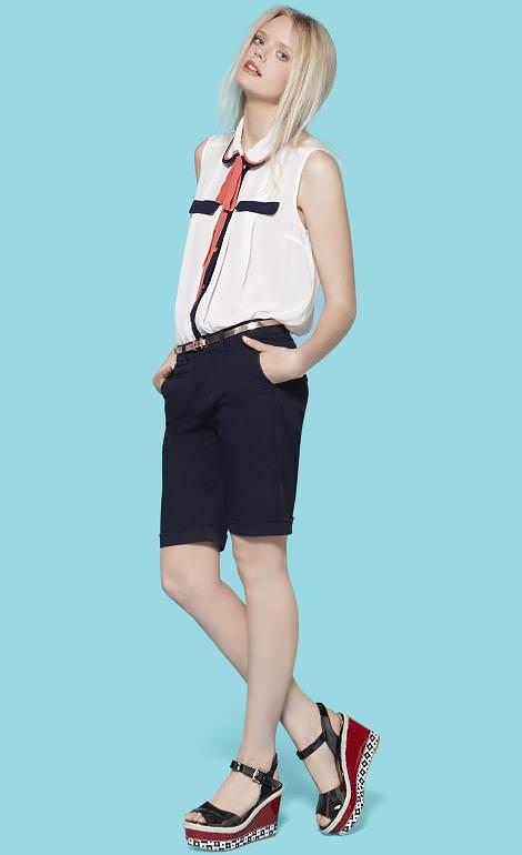 Primark catálogo primavera 2012, shorts, blusas con cuellos bebé y el estilo masculino-femenino