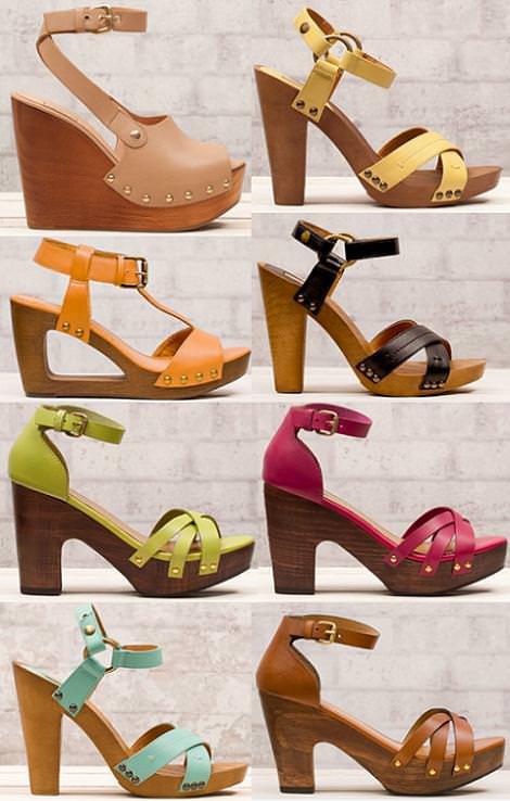 Sandalias y zapatos Stradivarius primavera 2012 zuecos y sandalias de madera
