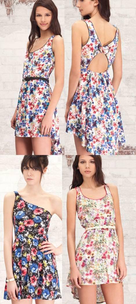 vestidos de flores lookbook de stradivarius