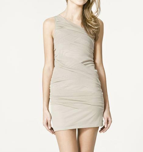 Vestido asimétrico y drapeado de Zara TRF (otoño invierno 2010 2011)