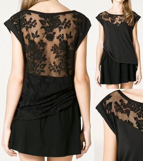 Camiseta encaje y transparencias de Zara TRF (otoño invierno 2010 2011)