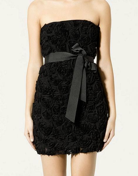 Vestido de fiesta de Zara, de flores en relieve de Zara (otoño invierno 2010 2011)