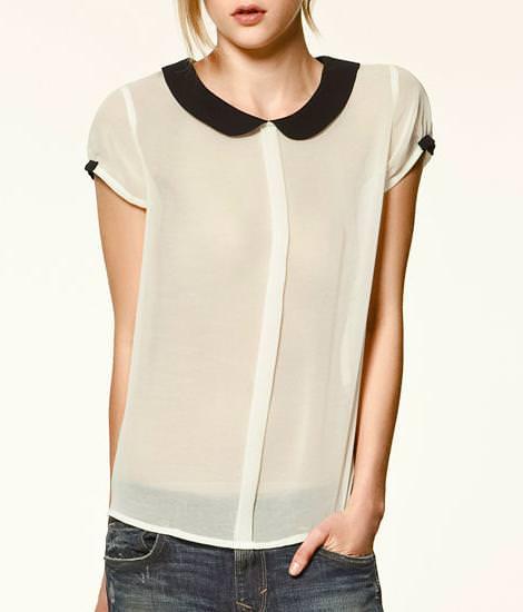 Blusa con cuello bebé y botones en la espalda de Zara Trafaluc