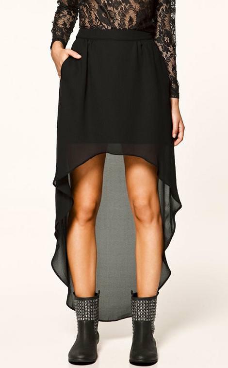 Nueva falda asimétrica y con transparencia de Zara