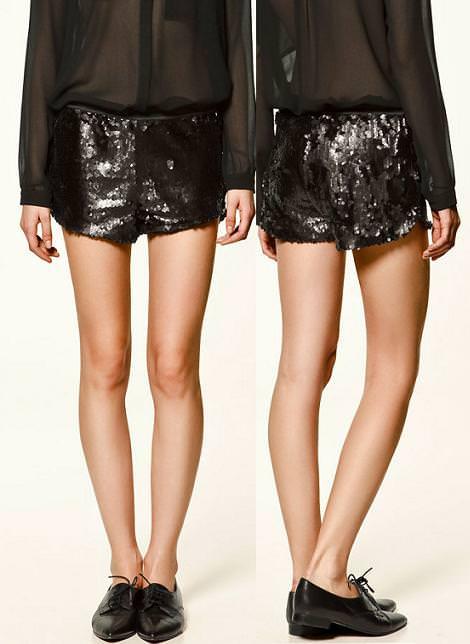 Shorts de lentejuelas de Zara Trafaluc