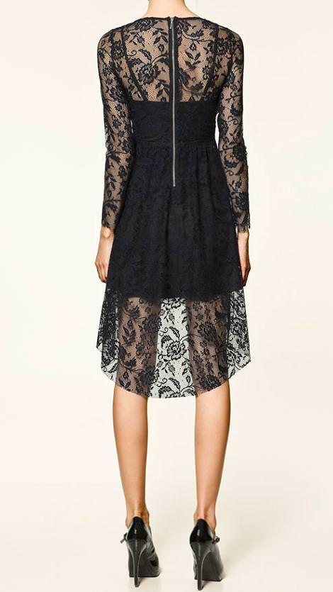 Vestido de encaje de Zara Trafaluc, con largo asimétrico