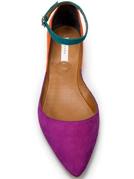 Bailarinas color block de Zara