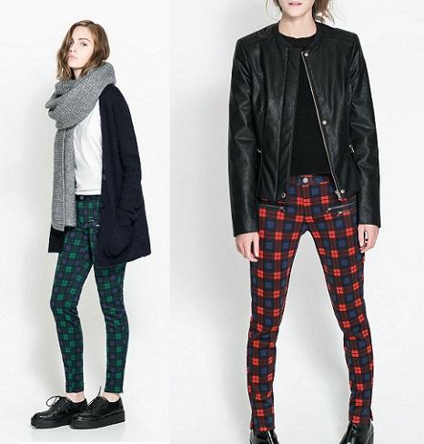 pantalones de cuadros de zara trafaluc otoño invierno 2013 2014