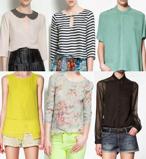 Colección Zara primavera 2012 camisas y camisetas