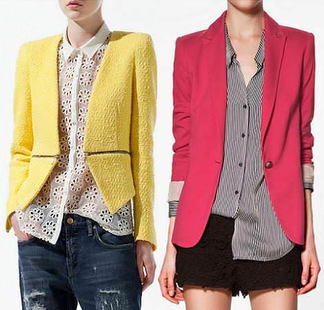 Tendencias primavera verano 2012: blazer colores flúor