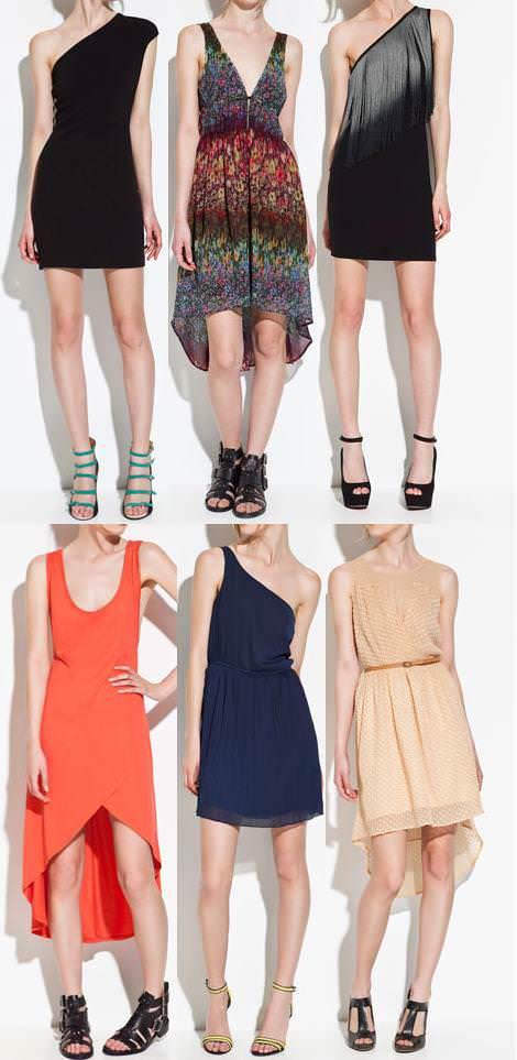 Vestidos de Zara TRF primavera verano 2012 asimetricos