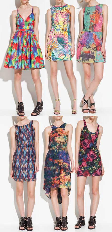 Vestidos de Zara TRF primavera verano 2012 estampados
