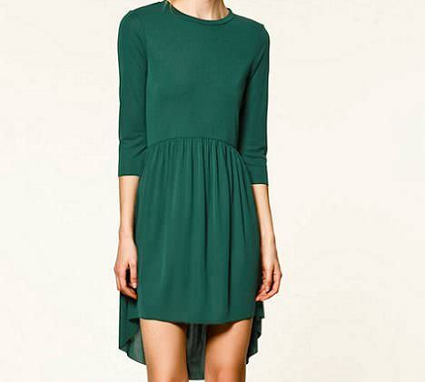 vestido asimetrico verde de zara trafaluc