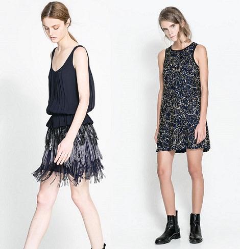 Colección de vestidos y ropa de fiesta de Zara para Fin de Año y Navidad 2013 en azul