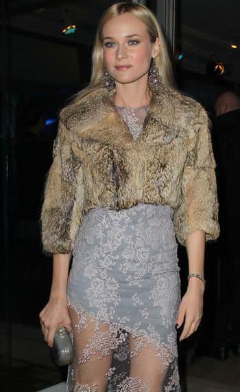 Diane Kruger con vestidos asimétrico y transparencias
