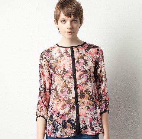 camisa de flores  de pull and bear