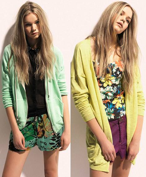 Pull and Bear primavera verano 2012 colores flúor y pastel como el amarillo y el verde mint