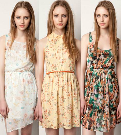 Vestidos Pull and Bear primavera 2012 estampados de flores