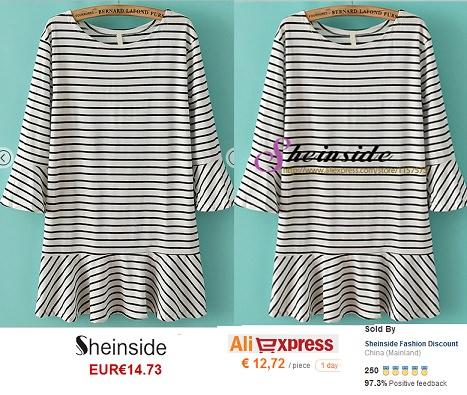 vestido de rayas de Sheinside vs Aliexpress primavera verano 2014