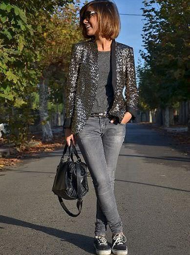 street style con lentejuelas