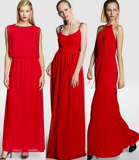 vestidos de fiesta rojos de el corte inglés otoño invierno 2014 2015