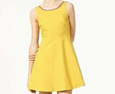 vestidos de rebajas amarillo de zara