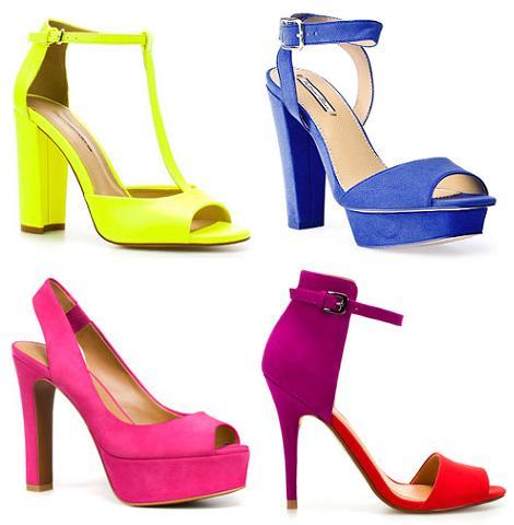 Zapatos de fiesta 2012 en colores flúor