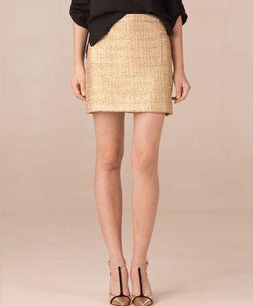 falda dorada de Massimo Dutti